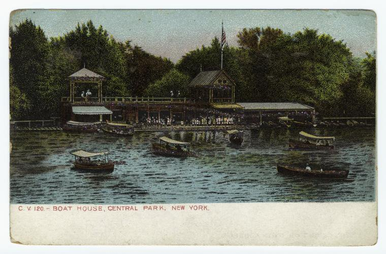 A photo of the Central Park Boathouse in the early 1900s