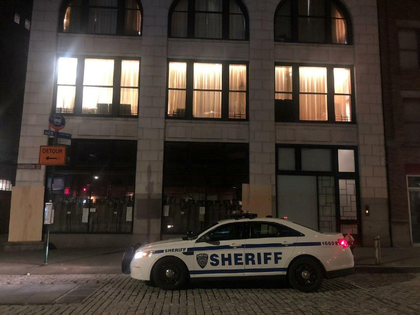 A photo released by the Sheriff's Office outside of 1 Harrison Street, where authorities shut down an illegal gathering.