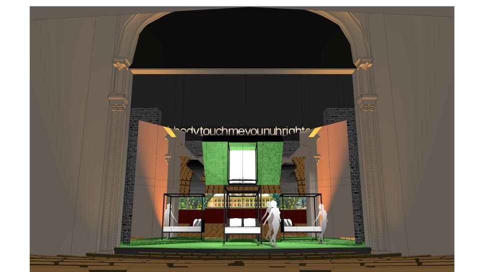 "Scene design for <i>Slave Play</i>""><figcaption> <span class="