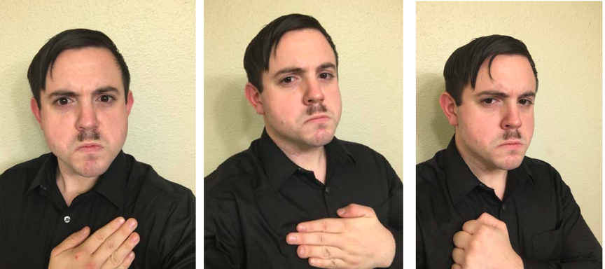A series of photographs showing Hale-Cusanelli in a black shirt and a Hitler mustache, with his hair styled like Hitler and his hand over his chest