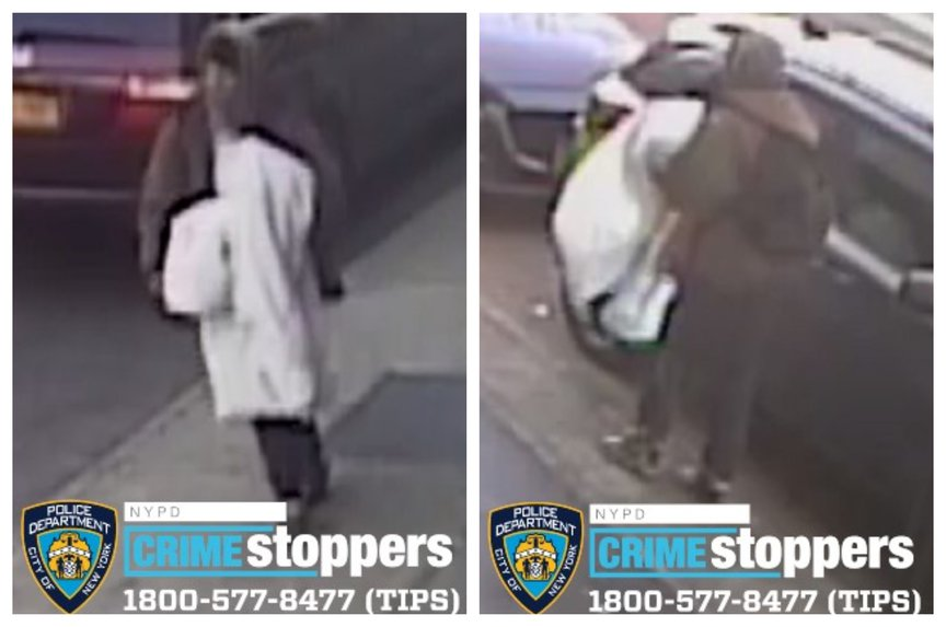 A man seen walking nearby parked cars on the sidewalk in two photos released by police.