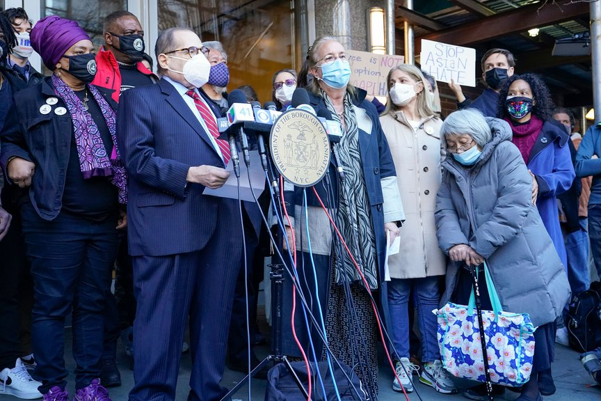 Rep. Jerrold Nadler, Manhattan Borough President Gale Brewer, and community activists at a news conference on Tuesday denouncing the attack