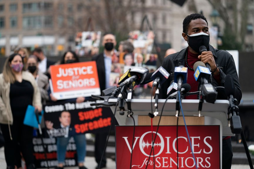 Public Advocate Jumaane Williams speaks during a demonstration decrying New York Governor Andrew Cuomo's handling of nursing homes.