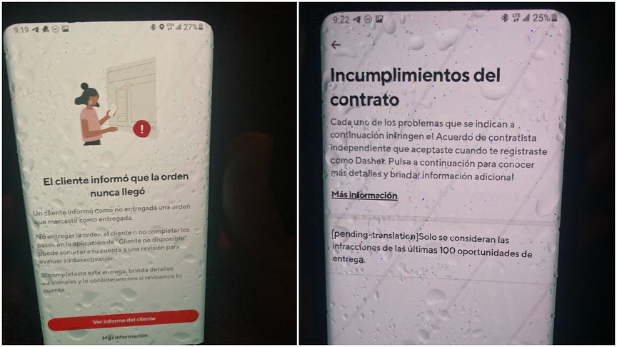 Screenshots of the victim's DoorDash account, accessed by his brother and cousin after his death