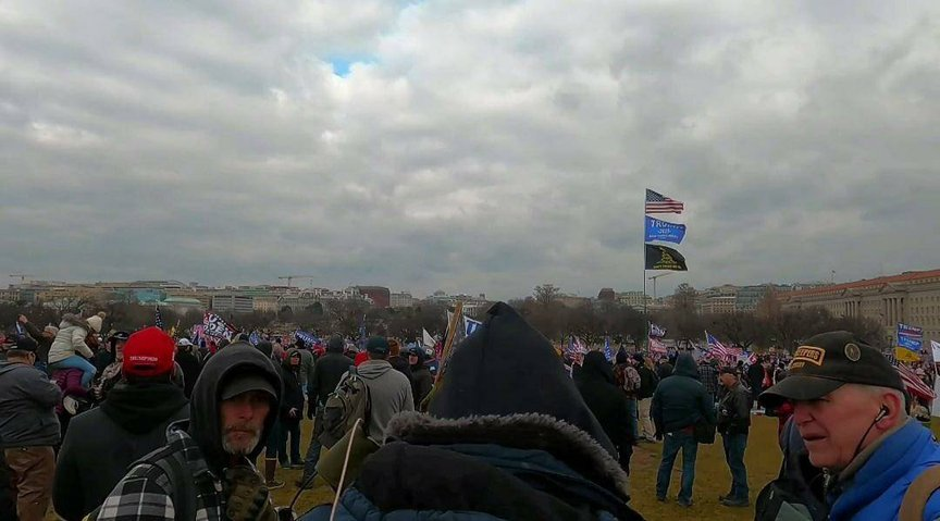 A wide shot of hundreds of people at the Capitol on January 6; Durfee is on the right