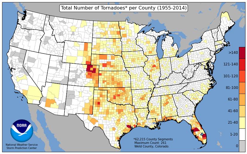 U.S. tornado frequency map