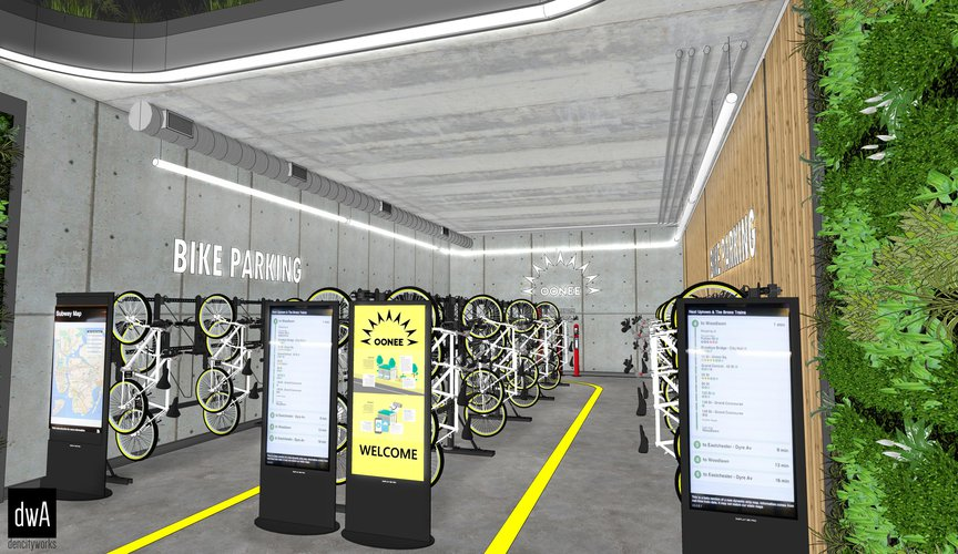 A rendering of a secure bike parking area coming to a new residential development in Sunset Park.