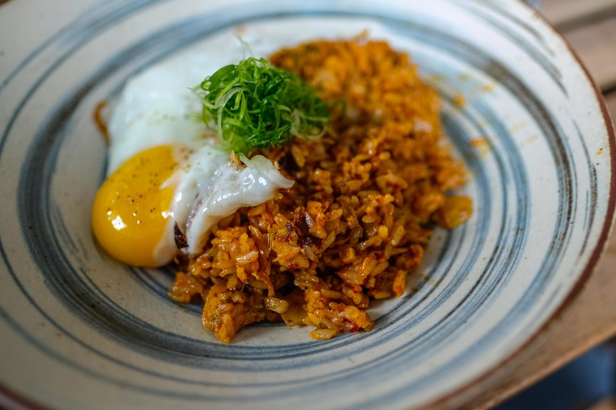 Kimchi Fried Rice with chicken sausage and tobiko ($12)