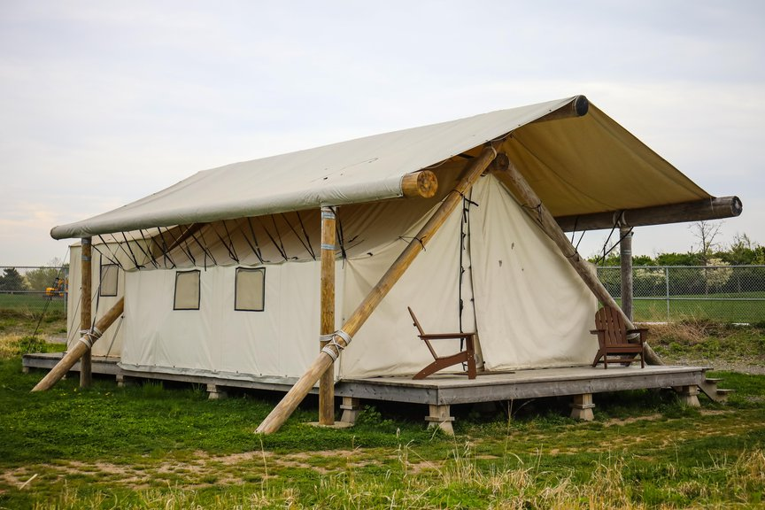A photo of a glamping set up on Governors Island
