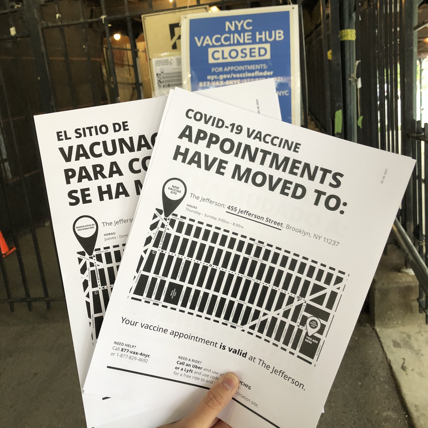 A Bed Stuy Strong member designed flyers to post at the shuttered Bushwick Educational Campus. They're handing them out to people who showed up unaware of the site's relocation.