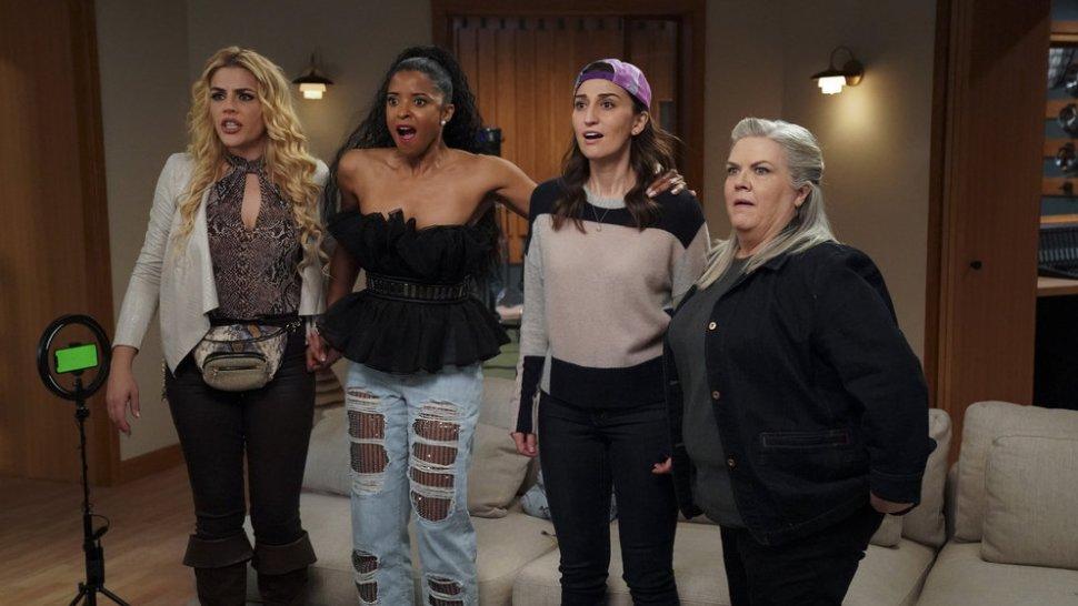 "Busy Philipps as Summer, Renée Elise Goldsberry, Sara Bareilles, and Paula Pell in <i>Girls5Eva</i>""><figcaption> <span class="