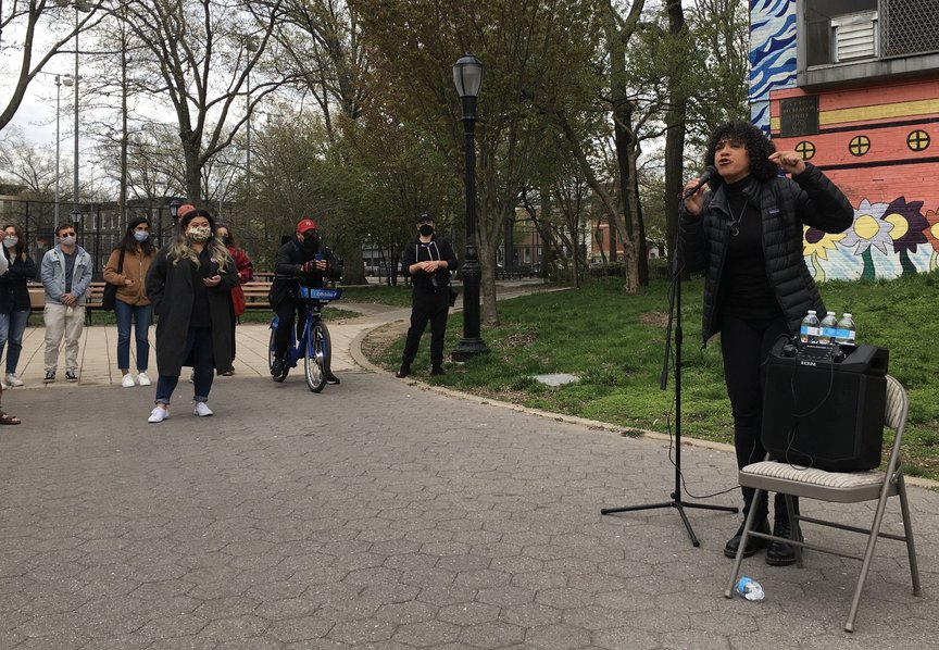 Morales speaking at an event in Crown Heights Brooklyn