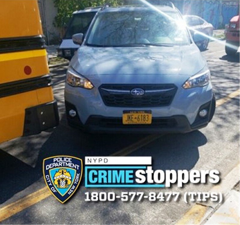 A photo of the Subaru Crosstrek SUV with New York plates JKE-6813. Police say the driver of this SUV hit a bus driver and fled during a road confrontation.