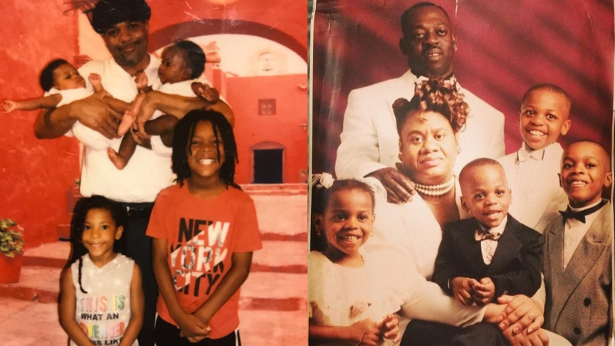Family portraits of Johnson and Bolt; on the left, Johnson is holding two babies while two children stand smiling in front of him, on the right, Bolt is standing behind his wife and is surrounded by their four children.