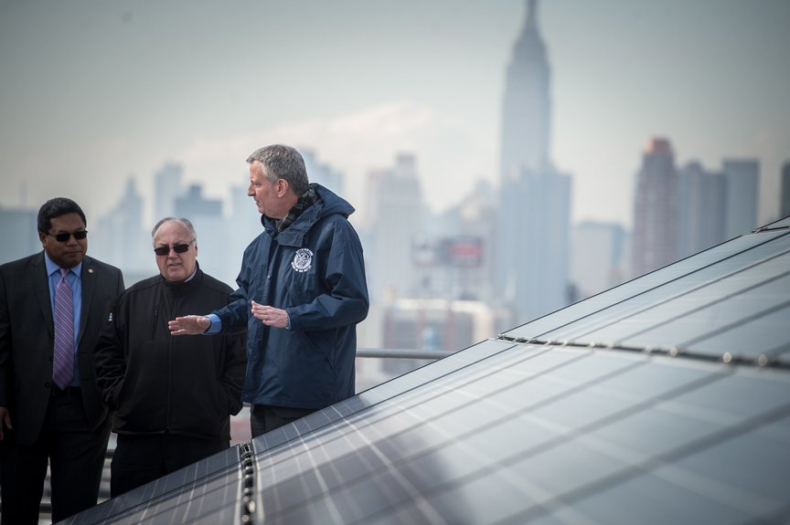 Rooftop solar panels in New York City.