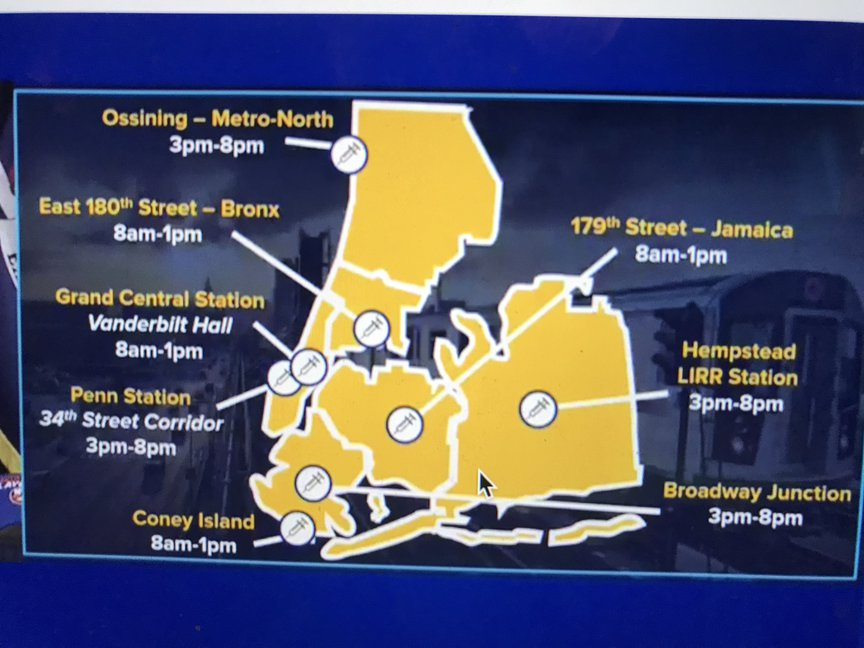 A map showing the location of the subway vaccination sites