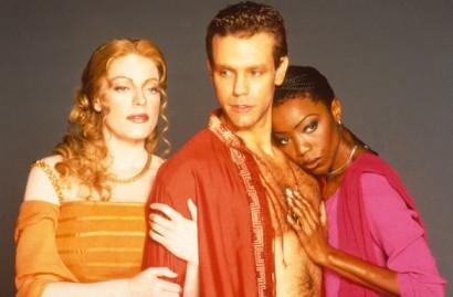 "Sherie Rene Scott, Adam Pascal and Heather Headley in <i>Aida</i>""><figcaption> <span class="