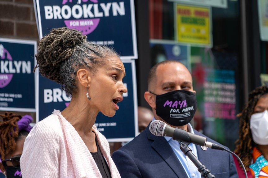 Maya Wiley standing alongside Congressman Hakeem Jeffries, who endorsed her on Sunday.
