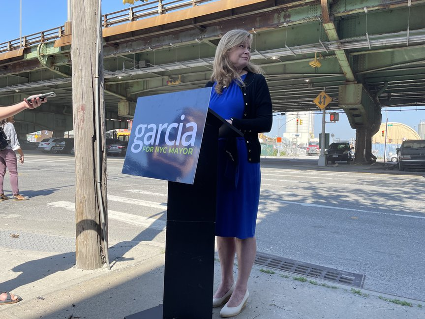 During a press conference in Gowanus, Garcia presented details of her transit plan.