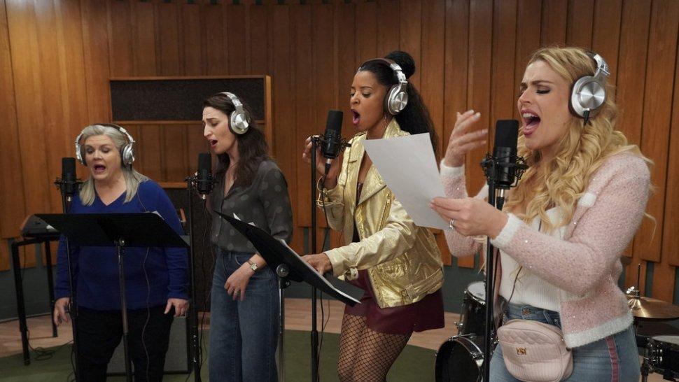 "Paula Pell, Sara Bareilles, Renée Elise Goldsberry, and Busy Philipps in <i>Girls5Eva</i>""><figcaption> <span class="