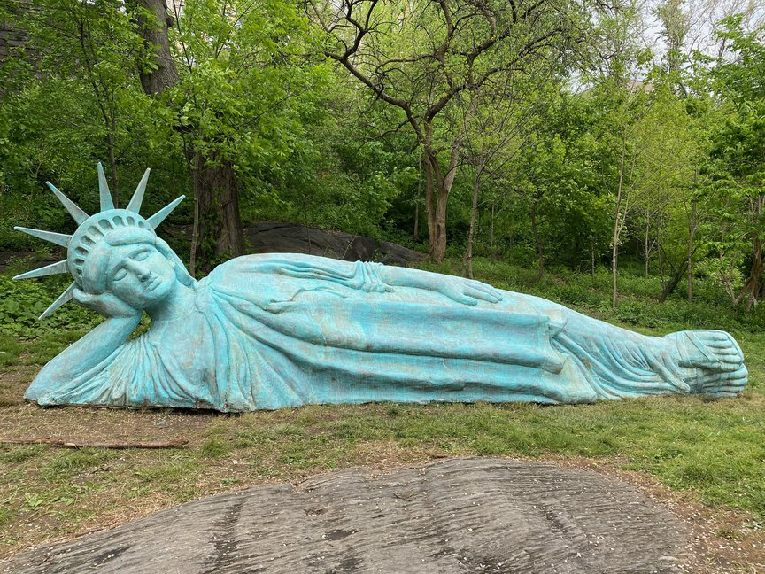 Reclining Liberty statue in Morningside Park